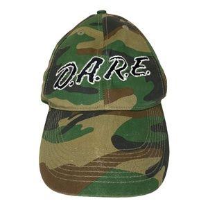 DARE Adjustable Camo Snapback Cap Hat 90s Vintage
